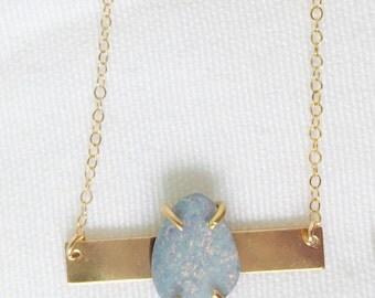 Opal Necklace,Gold bar necklace,genuine opal,raw opal necklace,blue opal necklace, australian opal,opal necklace gold,opal necklace silver