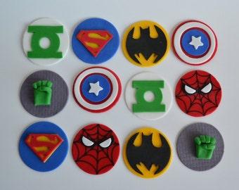 DC Fondant Toppers, Marvel Fondant Cupcake, Avengers Fondant Cupcake Toppers, Avengers cake, Superhero cupcakes, superhero party, superhero