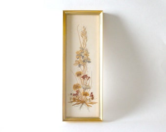 Vintage Reichlin Dried Flower Art in Gold Frame--Made in Switzerland