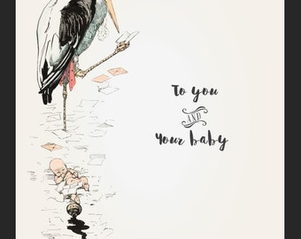 Mother Stork Baby Shower Finger Print Poster – Welcome to the World – Baby and Mother Nursery Print – Vintage Baby Print