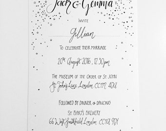 Simple and elegant hand-drawn wedding invitations, typography