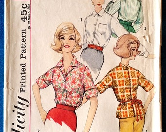 "Vintage 1960's shirt sewing pattern - Simplicity 4056 - size 14 (34"" bust)"