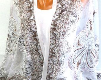 Tulle Scarf, Lace Scarf, Bridal Wedding Shawl, Lightweight Scarf, Summer Scarf, Women Fashion Accessories, Gift ideas For Her, Wedding Scarf