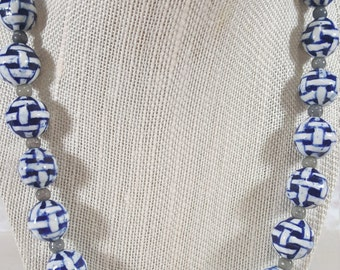 Handmade Blue & White Porcelaine Necklace, Silver Clasp