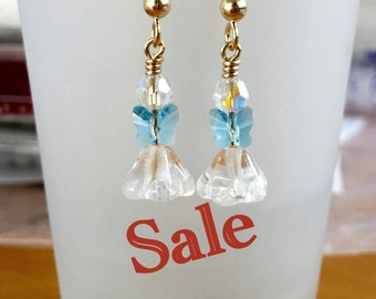 Angel Earrings, Christmas Earrings, Swarovski Crystal Earrings, Gold Earrings, Holiday Earrings, Christmas Dangle Earrings, Christmas Angel