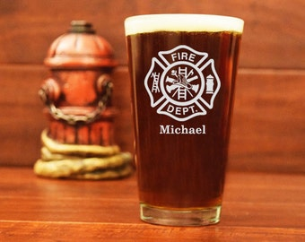 Fireman Pint Glass, Firefighter Beer Glass, Maltese Cross, Personalized Pint Glass, Custom Beer Mug, Gifts for Firefighters, Fire Department