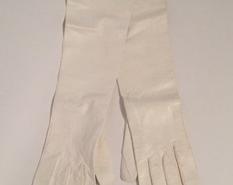 Vintage White Kid Leather Long Evening Gloves