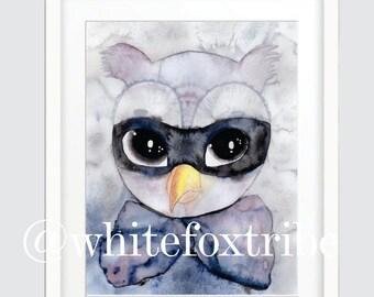 Owl Print, Art Prints, Watercolour Print, Watercolour, Nursery Wall Art, Wall Art Prints, Prints, Nursery Decor, Nursery Wall Art,Giclee