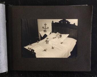 Funeral album including post mortem photo - deceased man - memento mori - 50s - death, mourning, burial- funeral ephemera