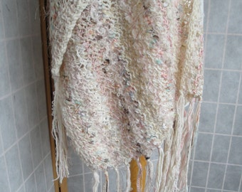cream wedding wrap, peach bridal stole, super-size stole, one-of-a-kind wrap, mixed fibre scarf, summer evening stole, spring party wrap