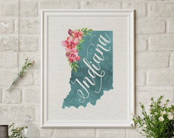 Indiana Hoosiers Map Watercolor Art Printable Wall Decor Purdue Notre Dame Home Decor