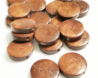 20 Wood Disc Beads, 15mm x 4mm Beads, Natural Wood Beads, Flat Beads, Disc Beads, Coin Beads, Circle Beads, Round Beads, 0131