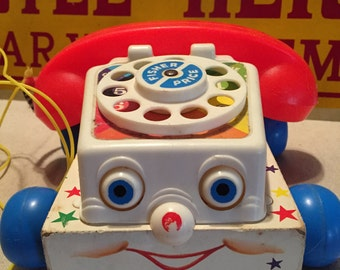 Vintage Fisher Price Pull Toy Phone, 1961