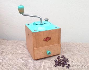 Vintage French Sanpeur Coffee Grinder Mint Green