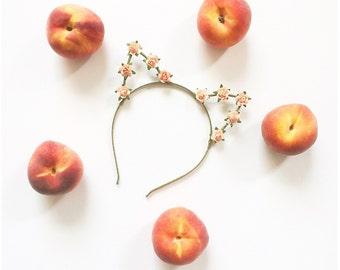 Peachy Pastel Kitty Crown Cat Ears Headband