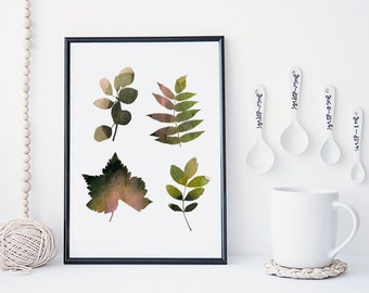 Leaf art print, botanical art print, watercolor leaf art, nature art print, minimal & simple illustration, home decor, gift, nursery decor