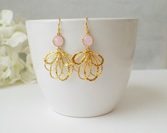 Soft Pink Glass And Gold Chandelier Dangle Earrings