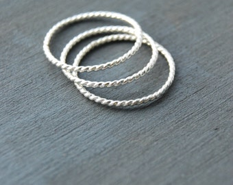 Twisted Stacking Rings, Stacking Rings, Silver Stacking Rings, Twisted Rings, Small Rings, Layering Rings, Silver Rings