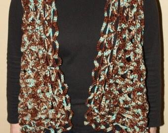 Boho Crochet Drape Vest/Cascade Vest Aqua and Brown