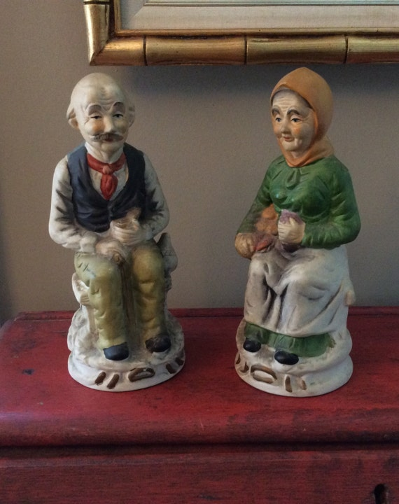 Sitting old man lady pair porcelain figurines home Home interiors figurines homco