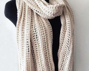 Knitted linen lace wrap, knitted long wide scarf, linen wrap, handknitted accessory, woman scarf, knitted linen scarf
