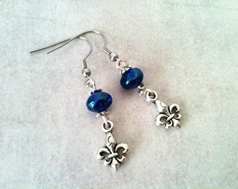 Fleur de lys earrings, blue crystal earrings, stainless steel hook, gazoline jewelry