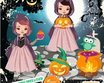 Halloween witch clipart, Halloween girls, Halloween cat clipart, Halloween pumpkin clipart, Girl clipart - CA482