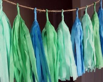 Makin Waves Tissue Paper Tassel Garland, Spring Color Tassel Garland, Pastel Tassel Garland, Cute Nursery Tassel Garland