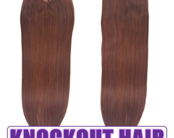 "Fits like a Halo Hair Extensions 20"" Dark Auburn (P#33/#34) - Human No Clip In Flip In Couture by Knockout Hair"