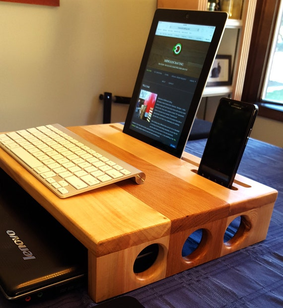 Reclaimed Wood Desk Monitor Stand Docking By Mrwoodcrafting