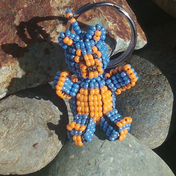 3D Pearl Blue / Tangerine Orange Beaded Bear Key-Ring with Czech Glass seed beads.