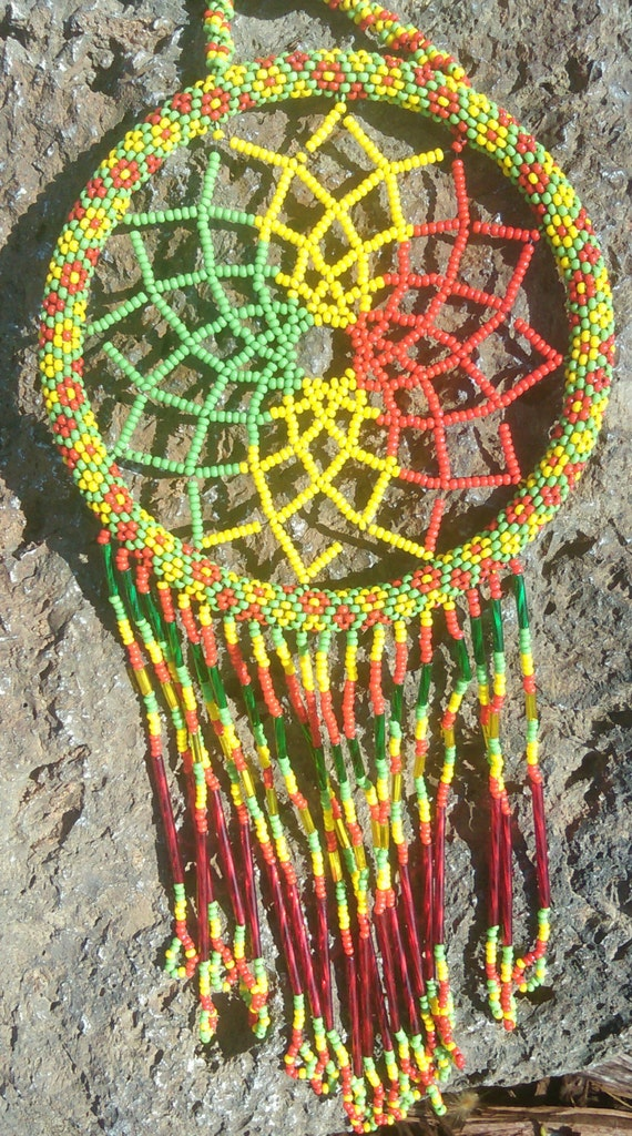 Free Spirit Flower Design Dream-Catcher - Light Catcher with Red Yellow Green Czech Glass Beads