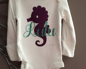 Seahorse Bodysuit, Personalized Onesie, Glittered Purple and Aqua
