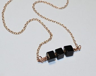Onyx Bar Necklace, Onyx pendant necklace, Simple necklace, Onyx necklace, Horizontal bar necklace