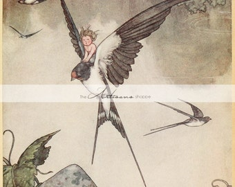 Digital Download Printable Art - Child Swallow Flying Bird Andersen's Fairy Tales - Paper Crafts Altered Art - Antique Children's Book Art