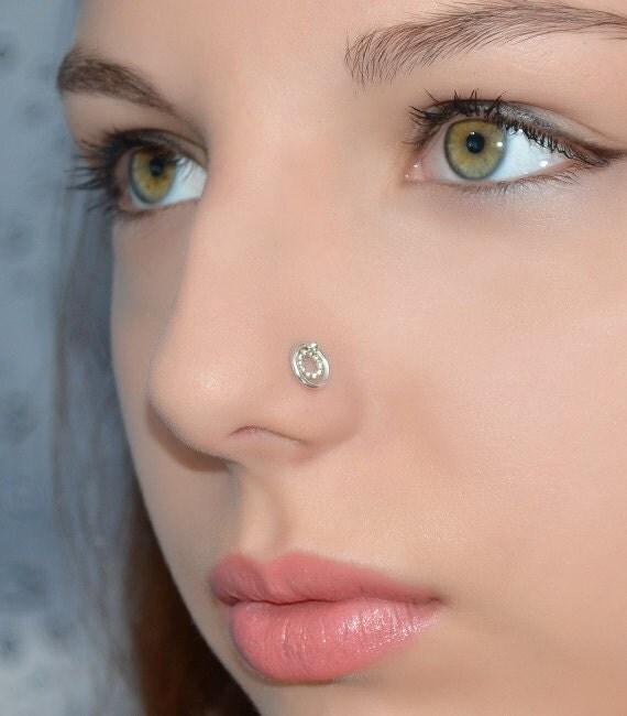 Silver Nose Ring Stud Nose Stud 16 Gauge Tragus Stud
