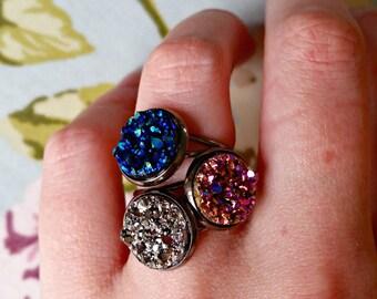 Druzy Sparkle Ring - druzy effect jewellery, matching items, statement ring, fashion jewellery