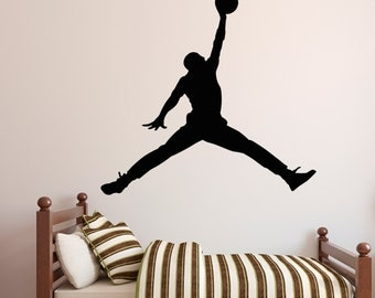Michael Jordan Wall Decal - Jumpman Decal - Basketball Wall Decal - Sports Wall Art - Vinyl Wall Decal