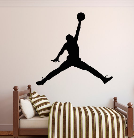 michael jordan wall decal jumpman decal basketball wall michael jordan jumpman 6 foot x 6 foot xl vinyl wall by
