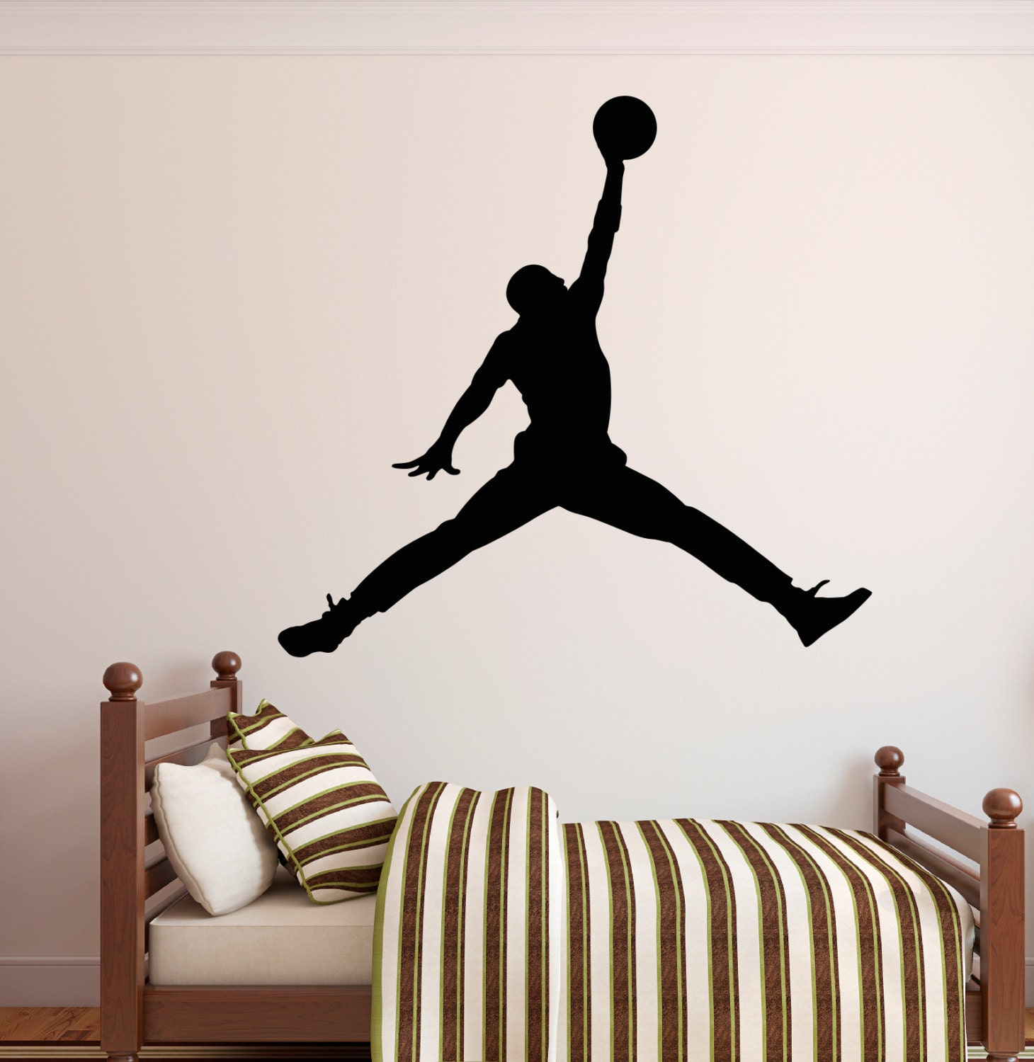 Michael jordan wall decal jumpman decal basketball wall for Basketball wall decals