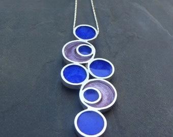 Between Circles Pendant,  Handmade Enamel Jewelry, Geometric Pendant,  Enamel  Pendant, Modern Pendant, Sterling Silver Pendant,  Necklace