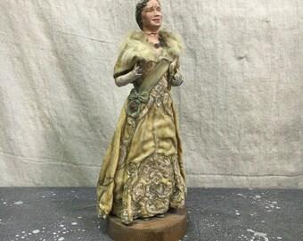 Queen Elizabeth II Coronation Sculpture, Weird Objet D'Art, Vintage Signed