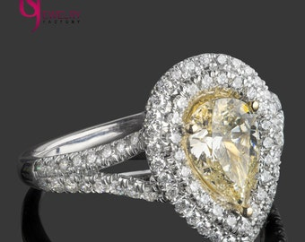 Pear Shaped Diamond Ring, 1.74 TCW, Natural Fancy Yellow Diamond, Pear Shaped Diamond Ring, Halo Diamond, Double Halo Engagement 18k Ring