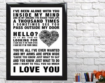Lionel Richie Hello Music Love Song Lyrics Word Art Print Poster Heart Design Wall Decor Framed Picture Gift Memorabilia Free UK Postage