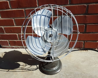 Vintage Clear Patina Finish Dominion Desk Fan Works Great New Cord