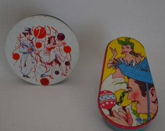 Two Vintage Tin Litho Noisemakers - U.S. Metal Toy Mfg. Co. Made in the U.S.A.