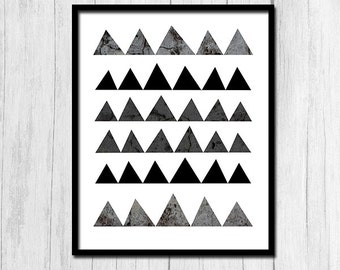 Triangles Print Instant Download Black and White Triangle Decor Scandinavian Print Triangle Poster Digital Download Triangle Wall Decor