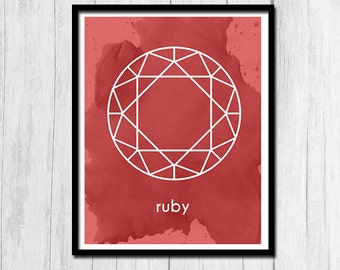 Ruby Print Instant Download Gift for July Birthday Ruby Art Birthstone Art Birthstone Print Digital Download July Printable