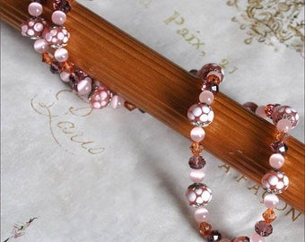 Pink Lampwork Beads, Pink Beaded Necklace, Antique Silver Beads, Pink Crystal Beads, Swarovski Crystals, Dusty Rose Beads