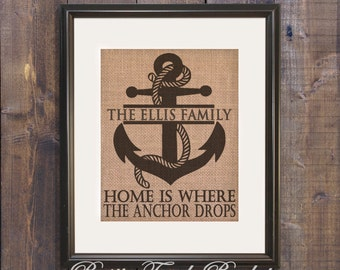 Beach decor, Nautical decor, Coastal Decor, Anchor decor, Home Is Where the Anchor Drops, Beach wedding decor, beach house decor, Beach sign